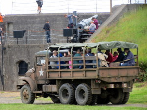 ww2 trucks giving tours of the fort