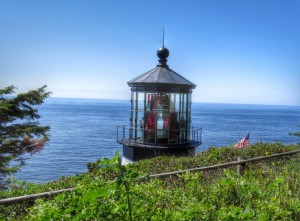 First sight of the lighthouse on the trail down.